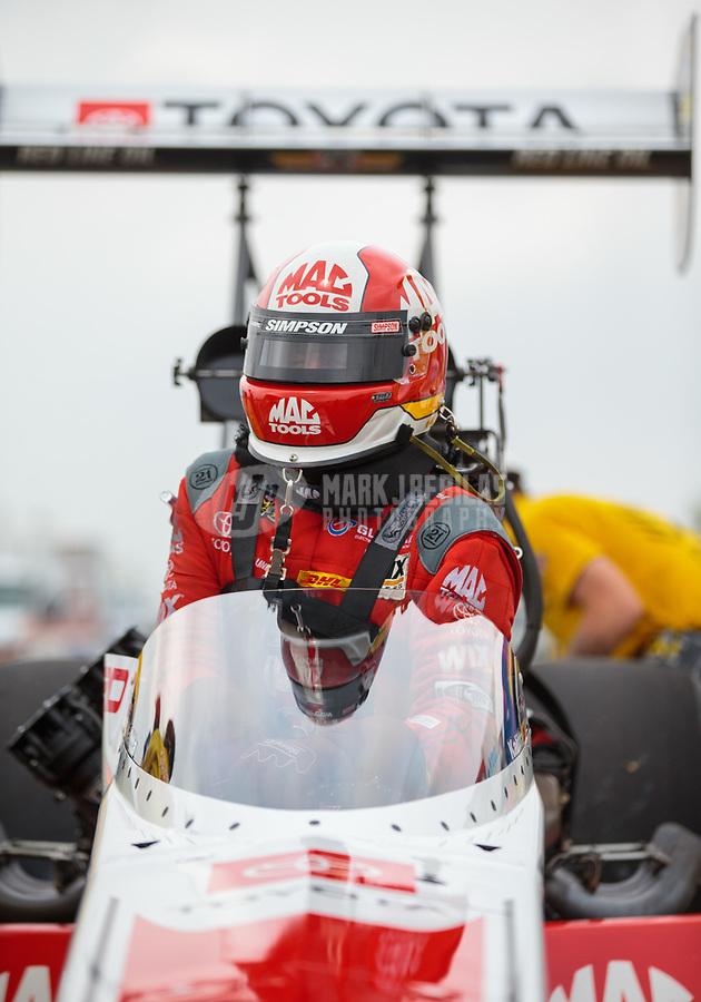 Apr 13, 2019; Baytown, TX, USA; NHRA top fuel driver Doug Kalitta during qualifying for the Springnationals at Houston Raceway Park. Mandatory Credit: Mark J. Rebilas-USA TODAY Sports