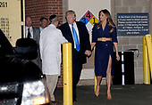 United States President Donald J. Trump and first lady Melania Trump shake hands with Doctor Ira Rabin while leaving the MedStar Washington Hospital Center in northeast D.C., after visiting with victims of this morning's shooting on June 14, 2017. <br /> Credit: Olivier Douliery / Pool via CNP
