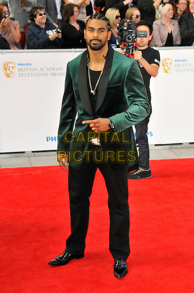 DAVID HAYE .Attending the Philips British Academy Television Awards, Grosvenor house Hotel, Park Lane, London, England, UK, May 22nd 2011..arrivals TV Baftas Bafta full length green velvet jacket black trousers .CAP/CAS.©Bob Cass/Capital Pictures.