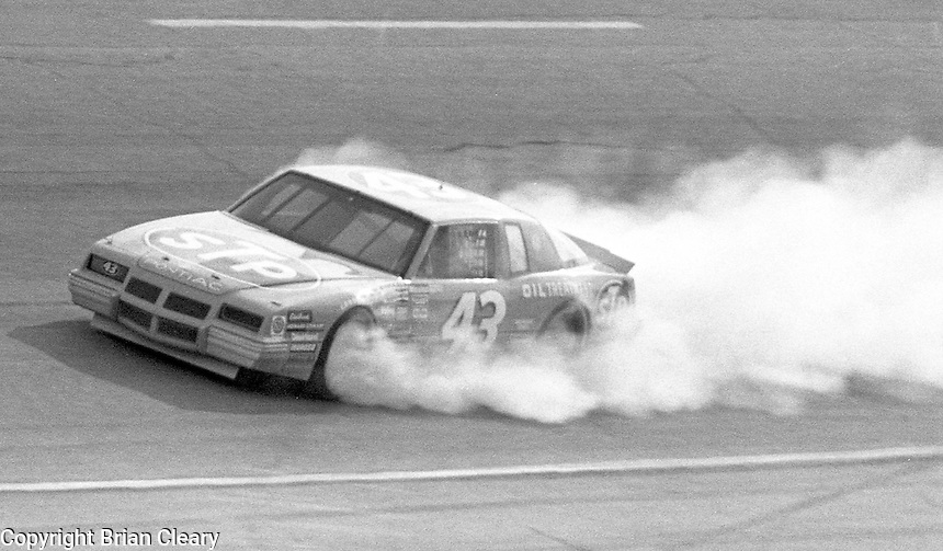 Richard Petty (43) 11th place Pontiac smoking  Motorcraft 500 at Atlanta International Raceway in Hampton, GA on March 16, 1986.   (Photo by Brian Cleary/www.bcpix.com)