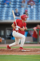 Clearwater Threshers center fielder Adam Haseley (17) follows through on a swing during a game against the Jupiter Hammerheads on April 9, 2018 at Spectrum Field in Clearwater, Florida.  Jupiter defeated Clearwater 9-4.  (Mike Janes/Four Seam Images)