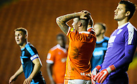 Blackpool's John O'Sullivan reacts after a missed opportunity<br /> <br /> Photographer Alex Dodd/CameraSport<br /> <br /> The EFL Checkatrade Trophy Northern Group C - Blackpool v West Bromwich Albion U21 - Tuesday 9th October 2018 - Bloomfield Road - Blackpool<br />  <br /> World Copyright &copy; 2018 CameraSport. All rights reserved. 43 Linden Ave. Countesthorpe. Leicester. England. LE8 5PG - Tel: +44 (0) 116 277 4147 - admin@camerasport.com - www.camerasport.com