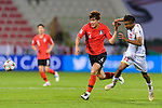 Kim Minjae of South Korea (C) fights for the ball with Mohamed Saad Alromaihi of Bahrain (R) during the AFC Asian Cup UAE 2019 Round of 16 match between South Korea (KOR) and Bahrain (BHR) at Rashid Stadium on 22 January 2019 in Dubai, United Arab Emirates. Photo by Marcio Rodrigo Machado / Power Sport Images