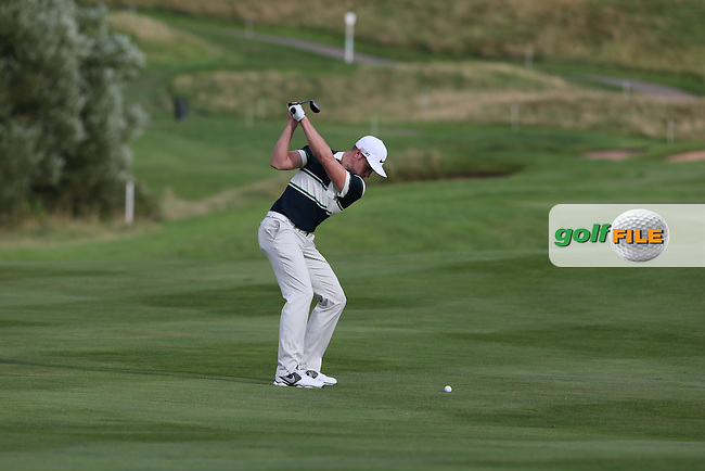 Oliver Fisher (ENG) with second shot to the 9th during Round One at the 2013 ISPS Handa Wales Open from the Celtic Manor Resort, Newport, Wales. Picture:  David Lloyd / www.golffile.ie