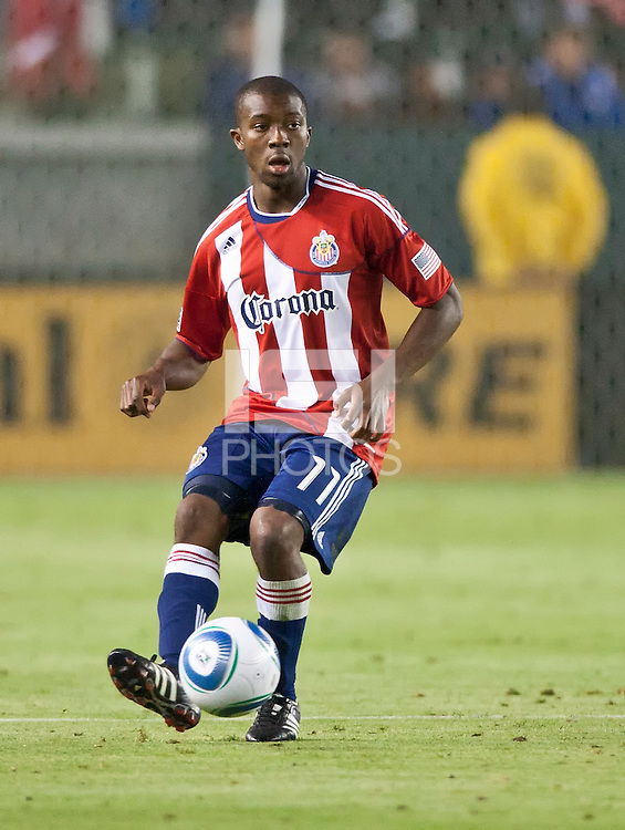 CARSON, CA – June 18, 2011: Chivas USA defender Michael Lahoud (11) during the match between Chivas USA and FC Dallas at the Home Depot Center in Carson, California. Final score Chivas USA 1, FC Dallas 2.