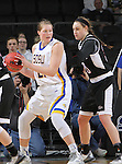 SIOUX FALLS, SD - MARCH 7:  Clarissa Ober #21 from South Dakota State University backs down Carolina Houge #30 from Omaha during their semifinal game of the 2016 Summit League Championship Monday afternoon in Sioux Falls. (Photo by Dick Carlson/Inertia)