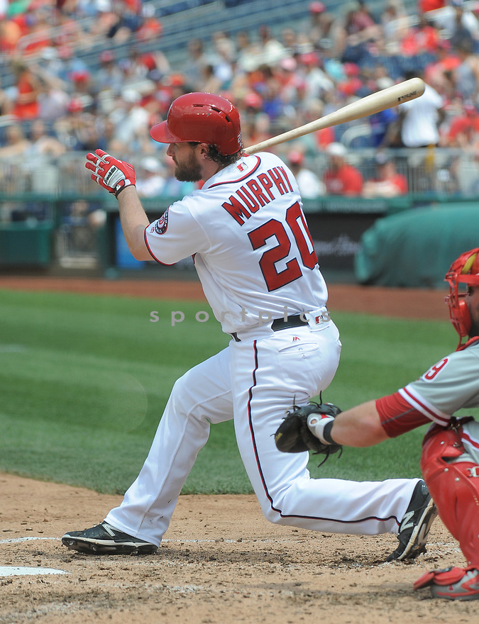 Washington Nationals Daniel Murphy (20) during a game against the Philadelphia Phillies on June 11, 2016 at Nationals Park in Washington, DC. The Nationals beat the Phillies 8-0.