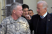 Kabul, Afghanistan - January 10. 2009 -- United States Vice-President -elect Joseph Biden visited HQ ISAF in Kabul, Afghanistan on Saturday, January 10, 2009.  Biden had a briefing with General David McKiernan, COMISAF, and then thanked the troops for their service. .Credit: Brenda Nipper - U.S. Air Force via CNP