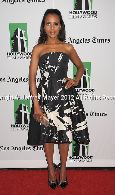 BEVERLY HILLS, CA - OCTOBER 22: Kerry Washington  arrives at the 16th Annual Hollywood Film Awards Gala presented by The Los Angeles Times held at The Beverly Hilton Hotel on October 22, 2012 in Beverly Hills, California.