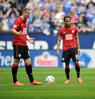 FUSSBALL   1. BUNDESLIGA   SAISON 2011/2012   33. SPIELTAG FC Schalke 04 - Hertha BSC Berlin                         28.04.2012 Pierre-Michel Lasogga (li) und Raffael  (re, beide Hertha BSC Berlin) sind enttaeuscht