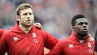 Wasps players Elliot Daly and Christian Wade of England during the national anthem before the match between England and Barbarians at Twickenham Stadium on Sunday 31st May 2015 (Photo by Rob Munro)