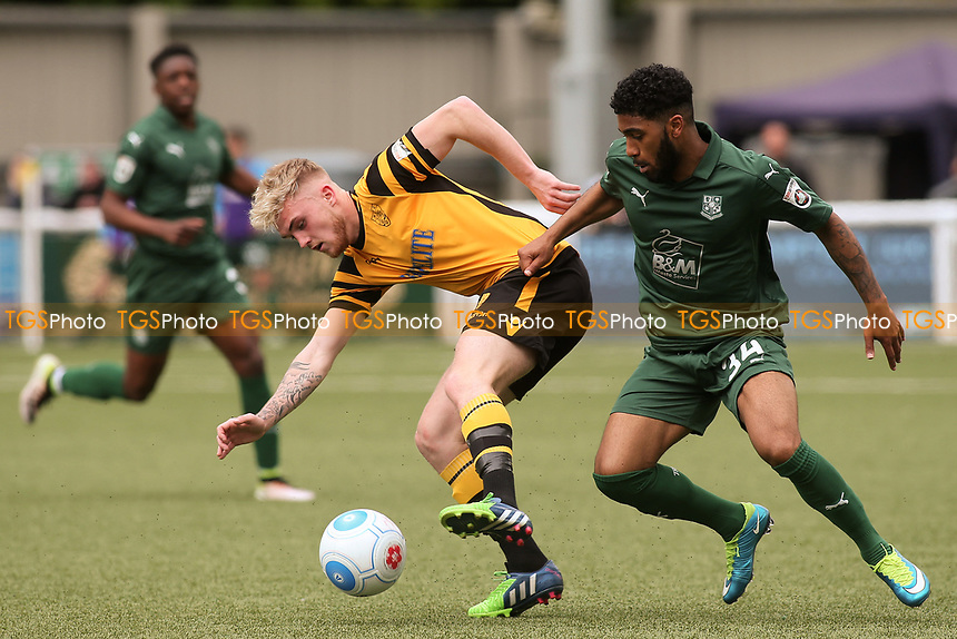 Bobby-Joe Taylor of Maidstone United shields the ball from Tranmere's Erico Sousa during Maidstone United  vs Tranmere Rovers, Vanarama National League Football at the Gallagher Stadium on 29th April 2017