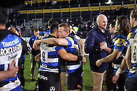 The Bath Rugby team celebrate the win after the match. Aviva Premiership match, between Bath Rugby and Northampton Saints on February 10, 2017 at the Recreation Ground in Bath, England. Photo by: Patrick Khachfe / Onside Images