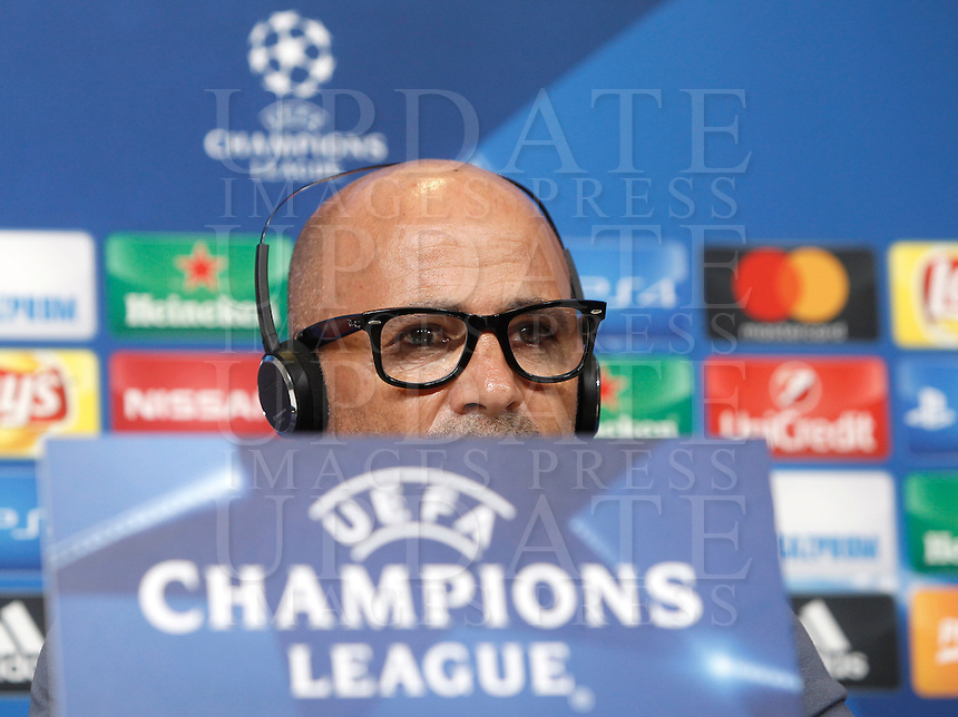 Calcio, Champions League: Juventus vs Siviglia, conferenza stampa Siviglia. Torino, Juventus Stadium, 13 settembre 2016.<br /> Sevilla's coach Jorge Sampaoli attends a press conference ahead of the Group H Champions League football match against Juventus, at the Juventus stadium, 13 September 2016.<br /> UPDATE IMAGES PRESS/Isabella Bonotto