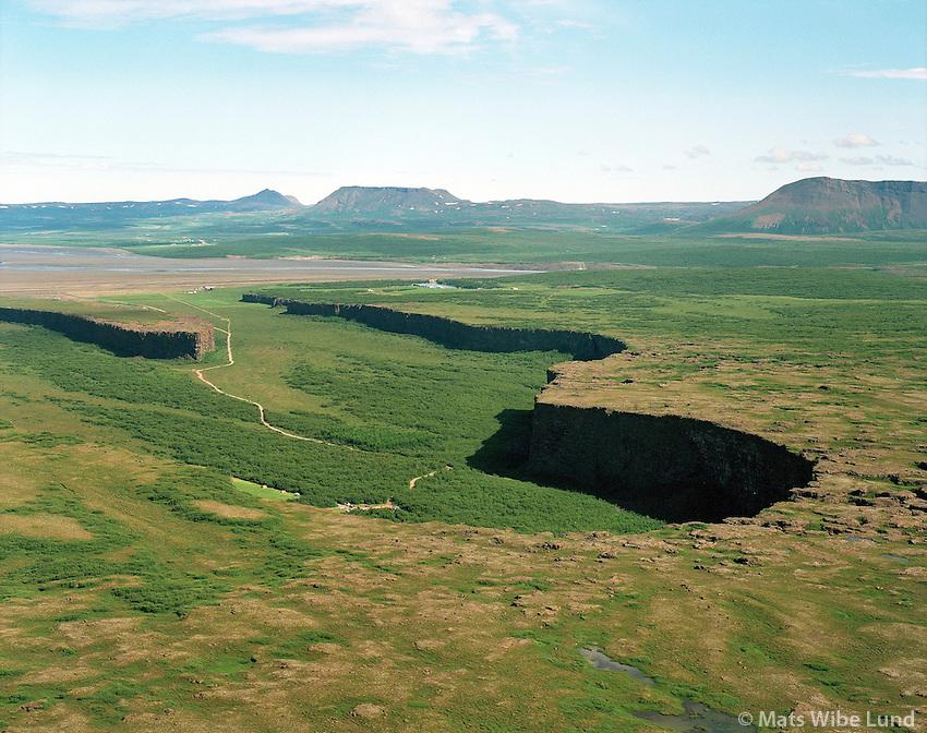 Ásbyrgi, Norðurþing áður Kelduneshreppur / Asbyrgi,  Nordurthing former Kelduneshreppur aerial.