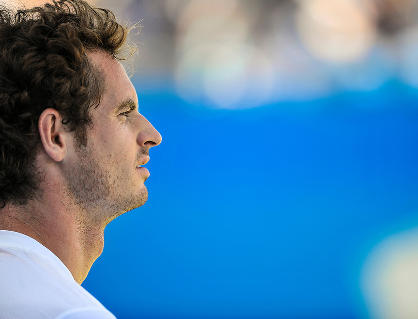 Andy Murray (GBR) during a break in his victory over Gilles Muller (LUX) in their Men&rsquo;s Singles Quarter Final match - Andy Murray (GBR) def Gilles Muller (LUX) 3-6, 7-6, 6-4<br /> <br /> Photographer Ashley Western/CameraSport<br /> <br /> Tennis - ATP 500 World Tour - AEGON Championships- Day 5 - Friday 19th June 2015 - Queen's Club - London <br /> <br /> &copy; CameraSport - 43 Linden Ave. Countesthorpe. Leicester. England. LE8 5PG - Tel: +44 (0) 116 277 4147 - admin@camerasport.com - www.camerasport.com