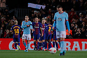 11th January 2018, Camp Nou, Barcelona, Spain; Copa del Rey football, round of 16, 2nd leg, Barcelona versus Celta Vigo; Leo Messi of FC Barcelona scores the goal for 1-0 and celebrates with his  team mates