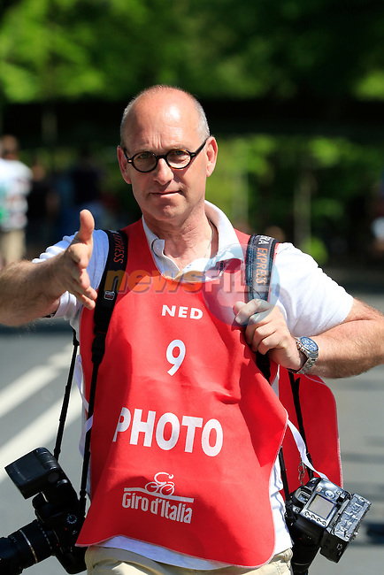 Photographer Oscar de Waele at Grebbeberg Military Cemetery on the route of Stage 2 of the 2016 Giro d'Italia running 190km from Arnhem to Nijmegen, The Nethrerlands. 7th May 2016.<br /> Picture: Eoin Clarke | Newsfile<br /> <br /> <br /> All photos usage must carry mandatory copyright credit (&copy; Newsfile | Eoin Clarke)