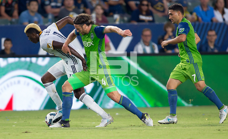 Carson, CA - Saturday July 29, 2017: Gyasi Zardes, Gustav Svensson during a Major League Soccer (MLS) game between the Los Angeles Galaxy and the Seattle Sounders FC at StubHub Center.