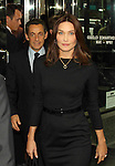 Carla Bruni and husband French President Nicolas Sarkozy leave the Intercontinental Hotel in New York.  picture by Trevor Collens .  Fee Applies.