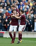 Kyle Lafferty scores for Hearts and celebrates