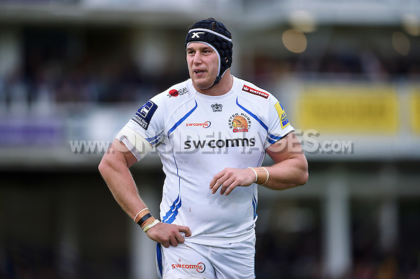 Mitch Lees of Exeter Chiefs looks on during a break in play. Aviva Premiership match, between Bath Rugby and Exeter Chiefs on October 17, 2015 at the Recreation Ground in Bath, England. Photo by: Patrick Khachfe / Onside Images