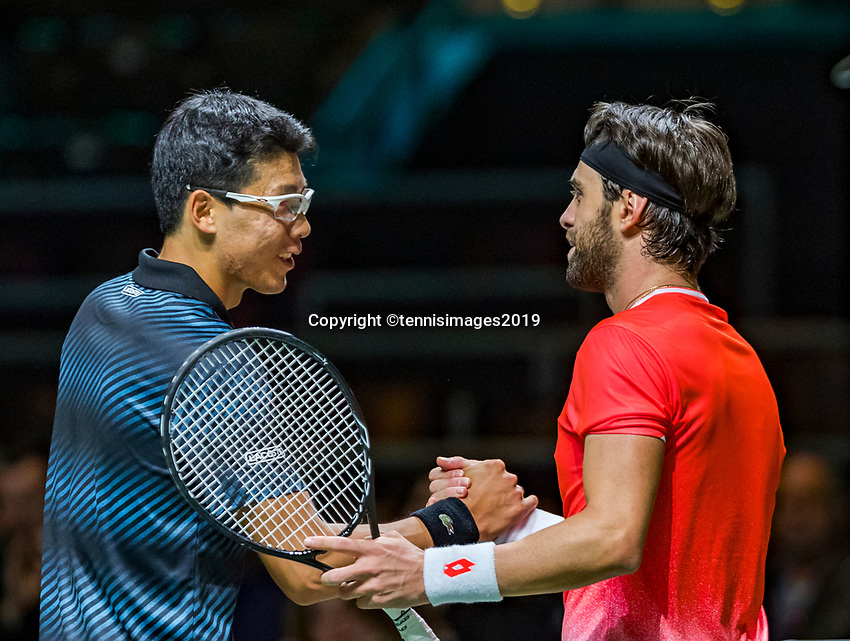 Rotterdam, The Netherlands, 11 Februari 2019, ABNAMRO World Tennis Tournament, Ahoy, first round singles: Hyeon Chung (KOR) (L) congratulates Nikoloz Basilashvili (GEO) with his win<br /> Photo: www.tennisimages.com/Henk Koster