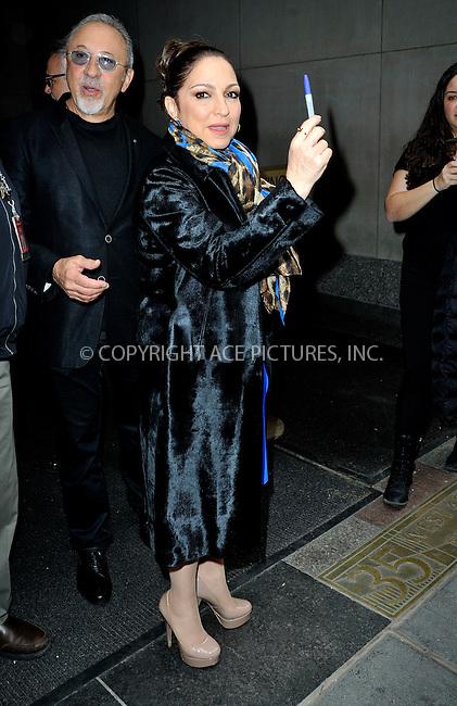 WWW.ACEPIXS.COM<br /> <br /> April 13 2015, New York City<br /> <br /> Musicians Gloria Estefan and Emilio Estefan (L)  leave the studios of 'The Today Show' on April 13 2015 in New York City<br /> <br /> By Line: Curtis Means/ACE Pictures<br /> <br /> <br /> ACE Pictures, Inc.<br /> tel: 646 769 0430<br /> Email: info@acepixs.com<br /> www.acepixs.com