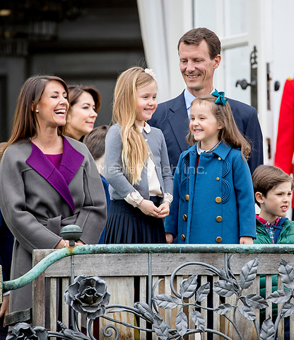 Crown Princess Mary, Prince Joachim, Princess Marie, Princess Josephine and Princess Athena of Denmark attend the 77th birthday celebrations of Queen Margrethe at Marselisborg palace in Aarhus, Denmark, 16 April 2017. Photo: Patrick van Katwijk Foto: Patrick van Katwijk/Dutch Photo Press/dpa /MediaPunch ***FOR USA ONLY***