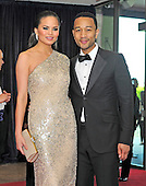 Chrissy Teigen and John Legend arrive for the 2013 White House Correspondents Association Annual Dinner at the Washington Hilton Hotel on Saturday, April 27, 2013..Credit: Ron Sachs / CNP.(RESTRICTION: NO New York or New Jersey Newspapers or newspapers within a 75 mile radius of New York City)
