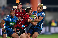 11th July 2020, Christchurch, New Zealand;  George Bridge of the Crusaders is tackled by Rieko Ioane of the Blues during the Super Rugby Aotearoa, Crusaders versus Blues, at Orangetheory Stadium, Christchurch