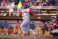 Williamsport Crosscutters first baseman Jesus Posso (28) at bat during a game against the Batavia Muckdogs on July 15, 2015 at Dwyer Stadium in Batavia, New York.  Williamsport defeated Batavia 6-5.  (Mike Janes/Four Seam Images)