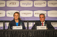 The press conference with the FEI and Organising Committee: Sabrina Ibanez (FEI Secretary General); Igmar de Vos (FEI President). 2018 FEI World Equestrian Games Tryon. Sunday 23 September. Copyright Photo: Libby Law Photography