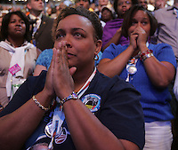 8/27/08 3:46:04 PM -- Denver, CO, U.S.A. -- Democratic National Convention -- ..Jaladah Aslam, left, of Youngstown, Ohio,  and Mitchell Artis, right, of Springfield, Ohio, nervously wait to hear Hillary Clinton speak during the roll call Wednesday. .Photo by Pat Shannahan, Gannett.