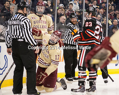 Bob Bernard, Adam Gilmour (BC - 14), Destry Straight (BC - 17), Dave Hansen, Colton Saucerman (NU - 23) - The Boston College Eagles defeated the Northeastern University Huskies 4-1 (EN) on Monday, February 10, 2014, in the 2014 Beanpot Championship game at TD Garden in Boston, Massachusetts.
