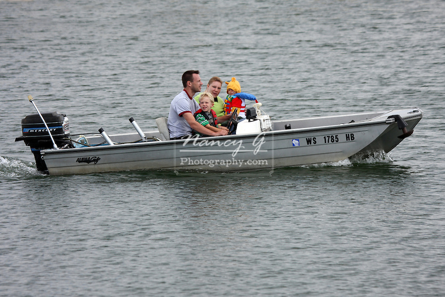 A family taking the boat out in the Milwaukee Harbor, Wisconsin