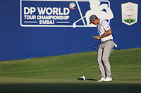 Christiaan Bezuidenhout (RSA) on the 18th during the 3rd round of the DP World Tour Championship, Jumeirah Golf Estates, Dubai, United Arab Emirates. 23/11/2019<br /> Picture: Golffile | Fran Caffrey<br /> <br /> <br /> All photo usage must carry mandatory copyright credit (© Golffile | Fran Caffrey)