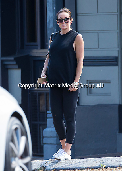 9 DECEMBER 2015 SYDNEY AUSTRALIA<br /> <br /> EXCLUSIVE PICTURES <br /> <br /> Michelle Bridges pictured out and about in Balmain. With her newly styled hair Michelle glowed as she stopped off for a bite to eat with friends at the Exchange Hotel enjoying a leisurely lunch over several hours.