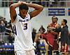 Justin Wright-Foreman #3 of Hofstra University reacts after a heartbreaking 86-85 loss to the College of Charleston in a CAA men's basketball game at Mack Sports Complex in Hempstead on Saturday, Feb. 3, 2018.