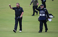 Shane Lowry (IRL) & Brian Martin can see their loved ones in the tunnel, during the Final Round of the 148th Open Championship, Royal Portrush Golf Club, Portrush, Antrim, Northern Ireland. 21/07/2019. Picture David Lloyd / Golffile.ie<br /> <br /> All photo usage must carry mandatory copyright credit (© Golffile | David Lloyd)