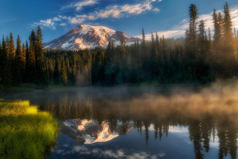 Reflection Lake at sunrise with fog.Mt. Rainier National Park, Washington