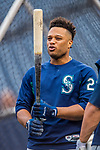 23 May 2017: Seattle Mariners infielder Robinson Cano awaits his turn in the batting cage prior to facing the Washington Nationals at Nationals Park in Washington, DC. The Nationals defeated the Mariners 10-1 to take the first game of their inter-league series. Mandatory Credit: Ed Wolfstein Photo *** RAW (NEF) Image File Available ***