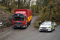 Pictured: A fire service vehicle leaves the house that burned in Llangammarch Wells, Powys, Wales, UK. Tuesday 31 October 2017<br />