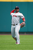 Pawtucket Red Sox outfielder Rusney Castillo (31) throws the ball in after fielding a base hit during a game against the Rochester Red Wings on July 1, 2015 at Frontier Field in Rochester, New York.  Rochester defeated Pawtucket 8-4.  (Mike Janes/Four Seam Images)