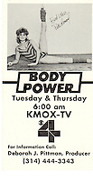 Promotional flyer for twice-weekly exercise show aired on KMOX-TV (currently KMOV) in St. Louis, Missouri ...