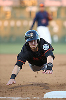 Brock Hebert (1) of the Bakersfield Blaze slides into third base during a game against the Lancaster JetHawks at The Hanger on April 28, 2016 in Lancaster, California. Lancaster defeated Bakersfield, 5-4. (Larry Goren/Four Seam Images)