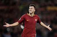 Football Soccer: UEFA Champions League AS Roma vs Chelsea Stadio Olimpico Rome, Italy, October 31, 2017. <br /> Roma's Stephan El Shaarawy celebrates after scoring their second goals during the Uefa Champions League football soccer match between AS Roma and Chelsea at Rome's Olympic stadium, October 31, 2017.<br /> UPDATE IMAGES PRESS/Isabella Bonotto