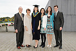 23/10/2015  Pictured at the recent Mary Immaculate College conferring ceremonies were (centre) Grainne Moriarty, Rochestown, Co. Cork, who graduated with a B.Ed in Psychology, with Thomas, Bernadette, Jane, Clare and Mark Moriarty. 625 students from 20 counties and 3 continents were conferred with academic awards across the College&rsquo;s 27 programmes including the College&rsquo;s 100th PhD award.<br /> Pic: Gareth Williams / Press 22<br /> <br /> Press Release: 23rd October 2015Education is a movement of formation that enables the individual to play their role in transforming society for the common good.100th PhD Graduate Conferred at Mary Immaculate CollegeEducation is a movement of formation that enables the individual to play their role in transforming society for the common good according to Prof. Michael A Hayes, President of Mary Immaculate College, who was speaking at the College&rsquo;s conferring ceremonies today Friday 23rd October. The quality of advanced scholarship at Mary Immaculate College was evident on the day as the 100th PhD graduate was conferred along with close on 650 students from 20 counties and 3 continents all of whom graduated with academic awards across the College&rsquo;s 27 programmes. Congratulating all those graduating the President said &ldquo;These ceremonies mark the high point of the College&rsquo;s year as we acknowledge the achievement of our students. The ceremonies this year are particularly special as we mark the conferring of our 100th PhD Graduate &ndash; this is a very proud achievement for us as a College and I want to congratulate those who have received these doctorates and my colleagues who supervised their work&rdquo;. Not only were students conferred with awards on undergraduate, diploma, graduate diploma and master programmes but this year marked the first graduation of students from the Certificate in General Learning &amp; Personal Development, a programme  for people with intellectual disabilities.&ldquo;Working with students with intellectual disabilities and offeri