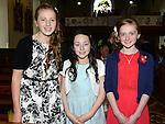 Danielle Howell, Moya Kirwan and Clara Fay who were confirmd in St Michael's church Clogherhead. Photo:Colin Bell/pressphotos.ie
