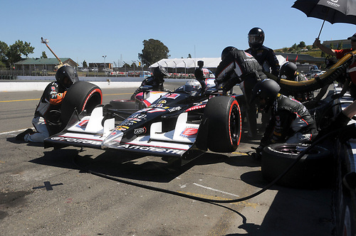 26-28 August, 2011, Sonoma, California USA<br /> Mike Conway pit stop.<br /> (c)2011, Paul Webb<br /> LAT Photo USA